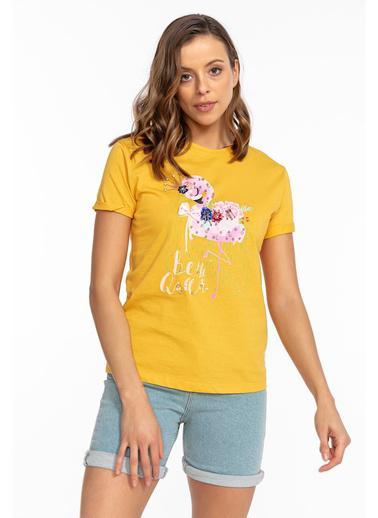 Tiffany&Tomato Y14902 Fiyonklu Flamingo  T-Shirt Sarı